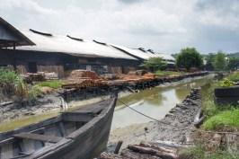 Die Mangrovenstämme werden unweit der Fabriken geschlagen und per Boot angeliefert