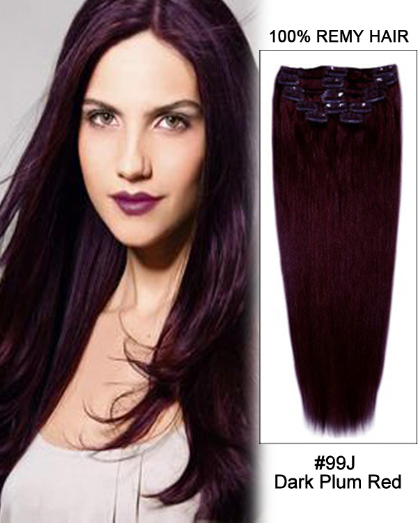 20 11pcs Straight Clip In Remy Human Hair Extensions 99J