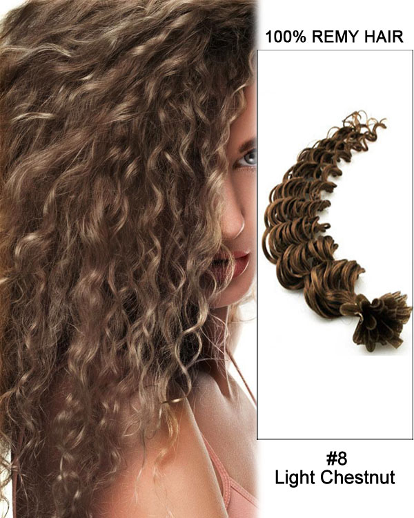 16 8 Light Chestnut Deep Wave Nail Tip U 100 Remy Hair