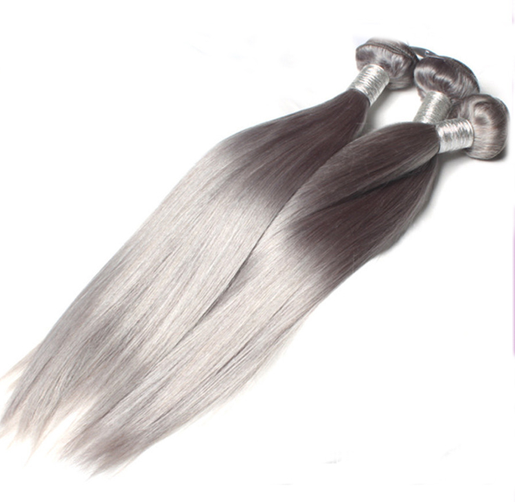 18Dark Grey Weave Straight Weft Remy Human Hair Extensions