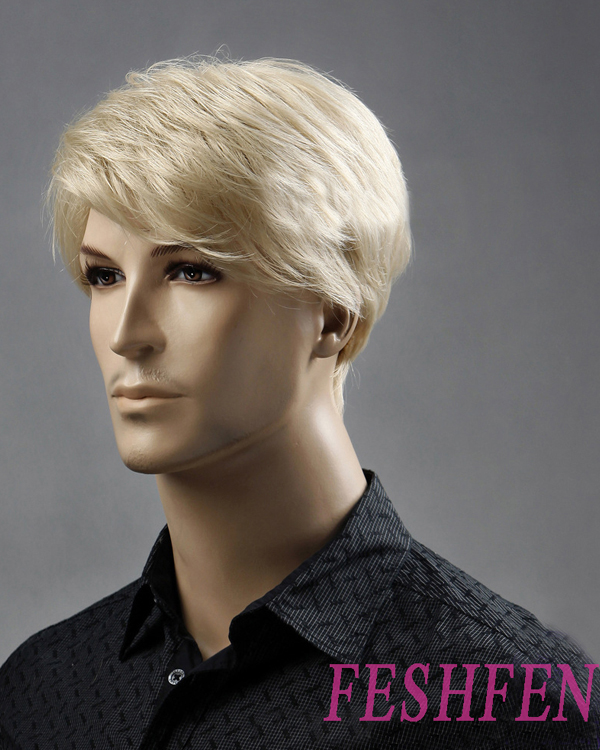 Bleach White Blonde Men Hair Wigs Synthetic Hair Wig