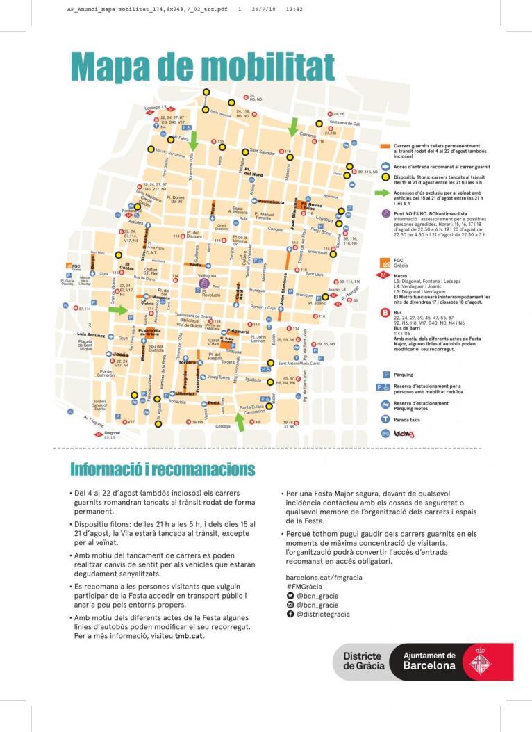 Image result for mapa mobilitat gracia 2018