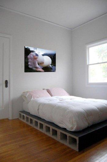 łóżko z bloczków betonowych diy