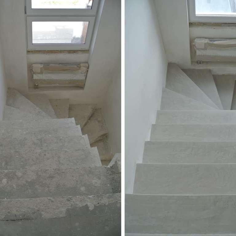 schody z mikrocementu - przed i po