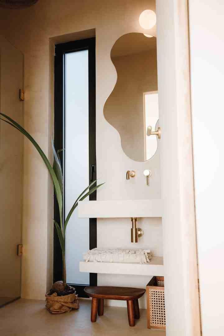 Betonowy tynk dekoracyjny w łazience