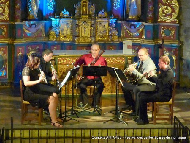Quintette d'instruments à vent ANTARES en la chapelle Sainte-Marie à Saint-Lary pour le Festival des petites églises de montagne
