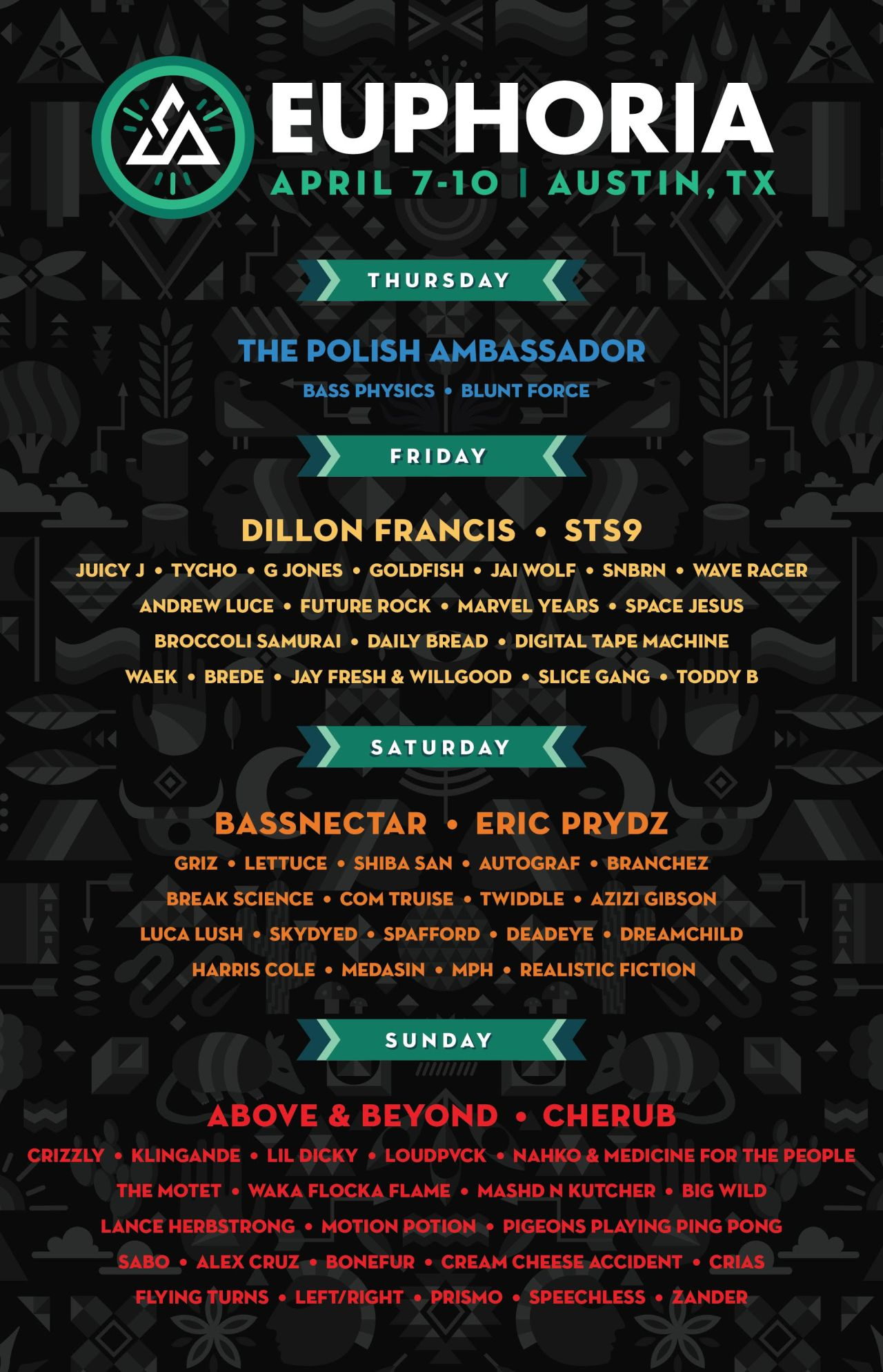 EUPHORIA MUSIC FESTIVAL ANNOUNCES ARTISTS BY DAY LINEUP AND PERFORMERS FOR THE NEW MOON PRE-PARTY ON APRIL 7TH