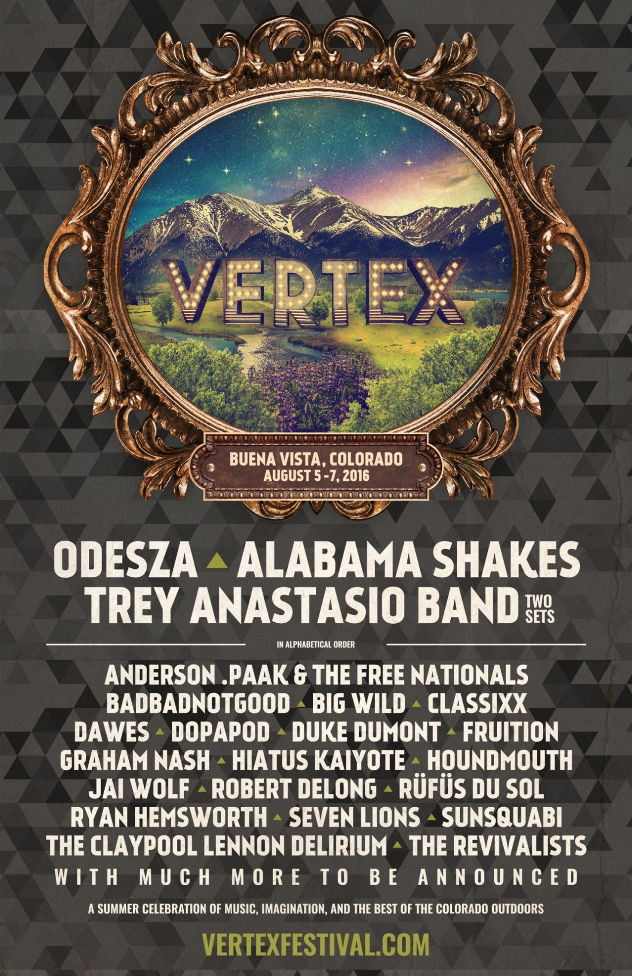 VERTEX Inaugural Music Festival in Buena Vista, Colorado August 5 – 7, 2016 Announces Headliners ODESZA, Alabama Shakes and Trey Anastasio Band