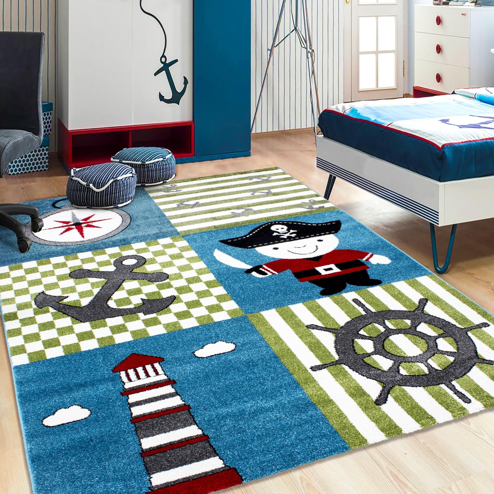 tapis pour garcon creme et bleu pirate