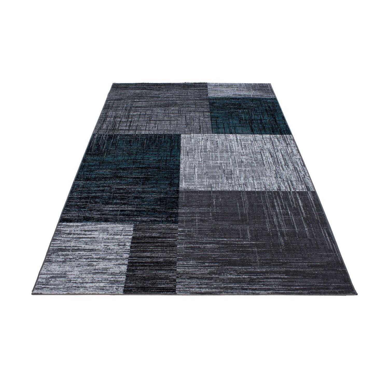 tapis contemporain argente turquoise en polypropylene markus