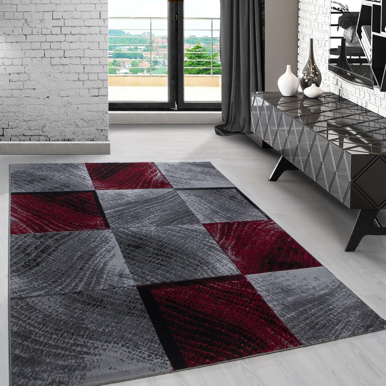 tapis contemporain argente rouge en polypropylene markus