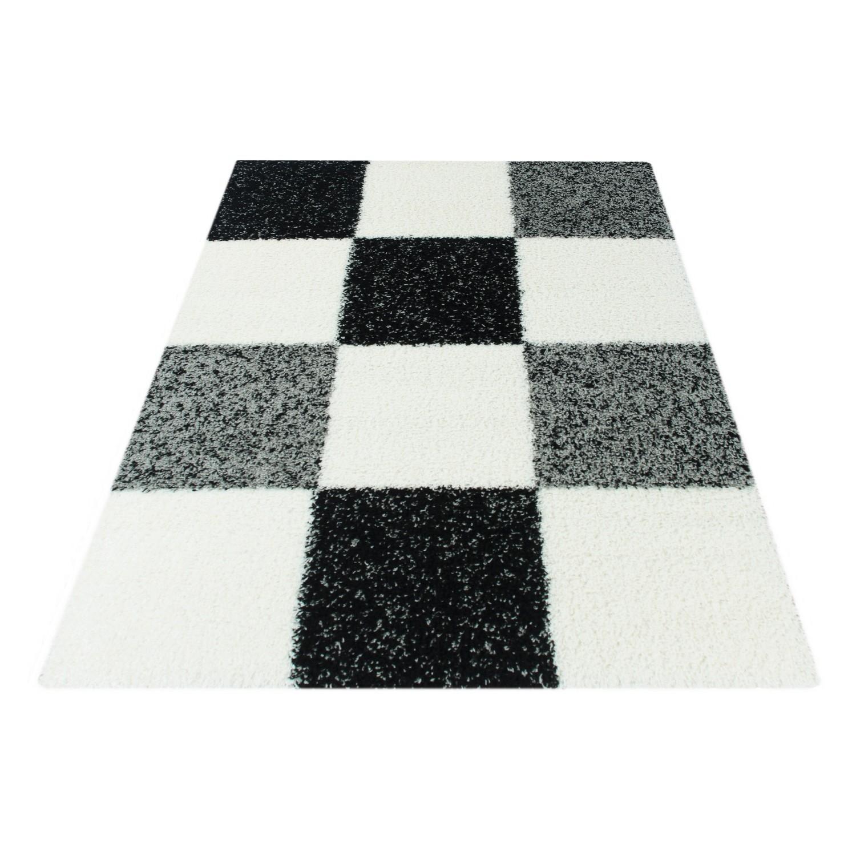 tapis shaggy longues meches noir blanc gris hautes carreaux vasco