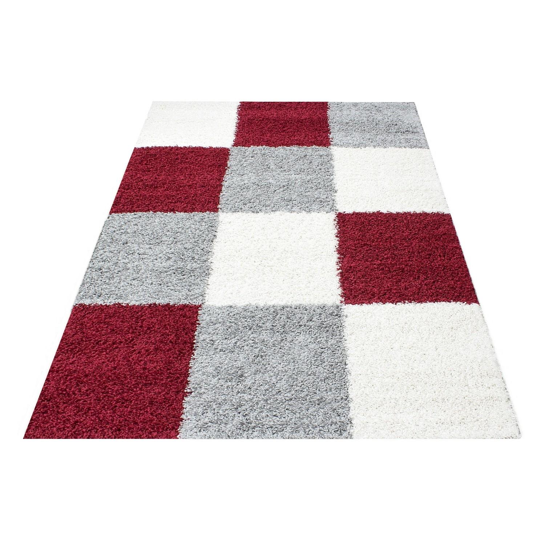 tapis shaggy longues meches rouge gris cream hautes carreaux vasco