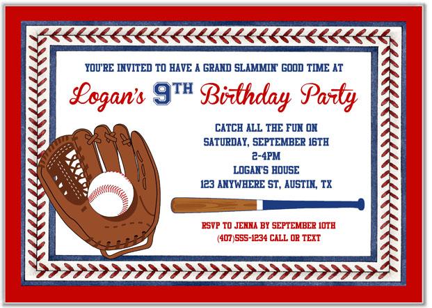 baseball birthday party invitations baseball sports kids birthday