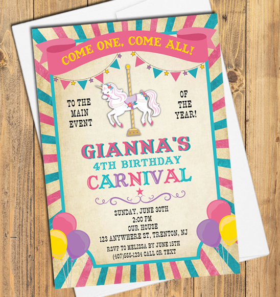 carnival amusement park birthday party invitations carnival kids birthday