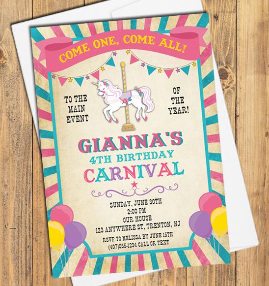 carnival amusement park birthday party invitations carnival kids birthday