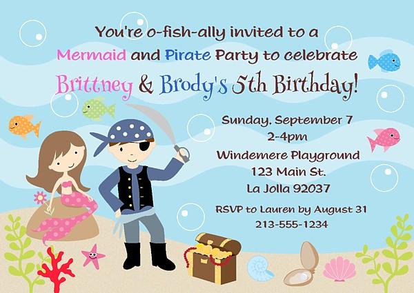 mermaid and pirate birthday party invitations mermaid kids birthday