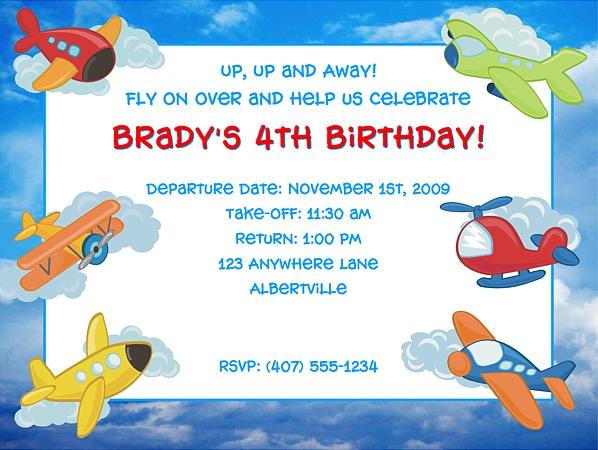 Airplane Birthday Party Invitations Airplane Kids Birthday