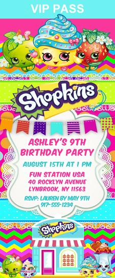 shopkins birthday party ticket invitations shopping kids birthday