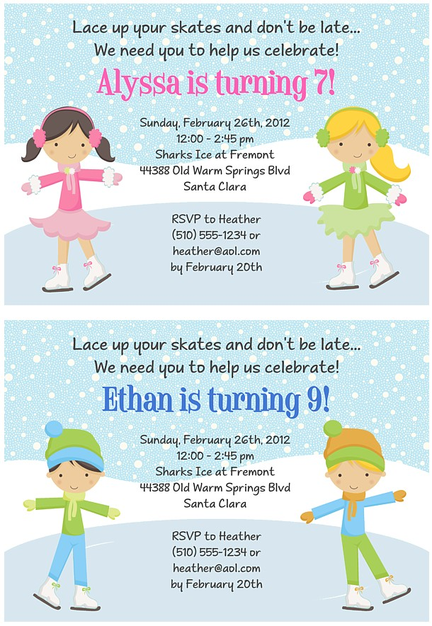 ice skating birthday party invitations ice skating sports kids birthday