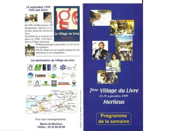 Programme Fête du Livre de Merlieux - 1999