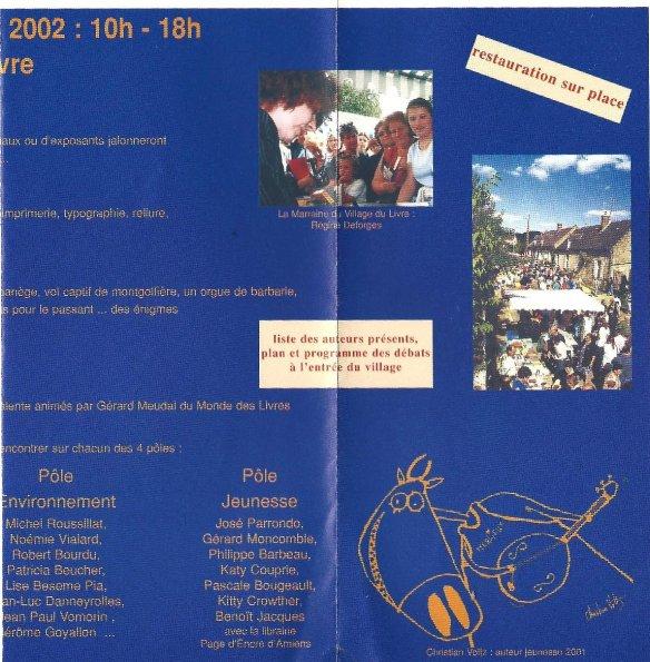 Programme Fête du Livre de Merlieux - 2002