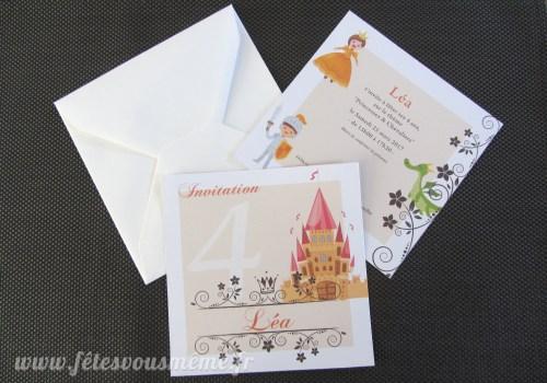 Invitation Princesse & Chevalier - Fêtes vous même