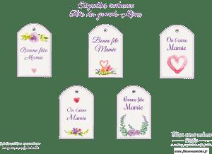 Étiquettes cadeaux Bonne Fête Mamie - Fêtes vous même