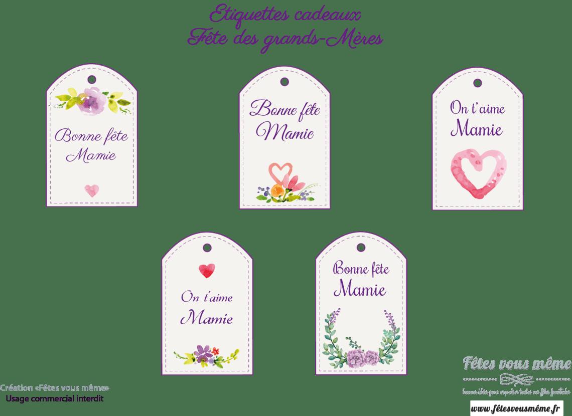 Etiquettes cadeaux Bonne fête mamie - Fêtes vous même