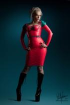 pleated-bow-kneelength-dress