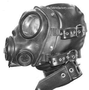 Latex Bondage Gasmask Hood フードやハーネスが付けられた例