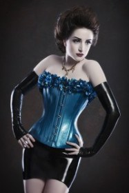 BLUE TWO TONED LATEX CORSET