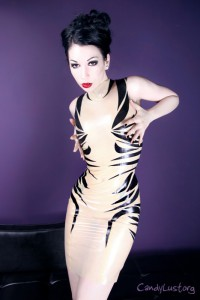 Custom Latex Applique Zebra Dress SPECIAL EDITION