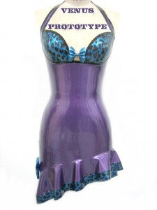 Leopard print cup latex dress with hat and gloves by Venus Prototype