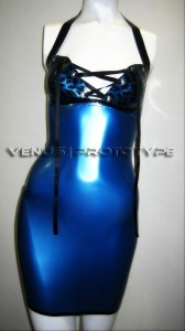 SUMMER SPECIAL leopard print lace up front latex dress by Venus Prototype
