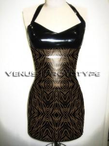SUMMER SPECIAL. Zebra print transparent smoke latex dress