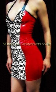 SUMMER SPECIAL...Zebra print dress with cherry red panels latex dress