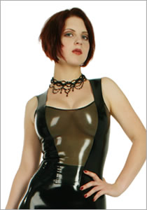 Latex top with decolleté and insert