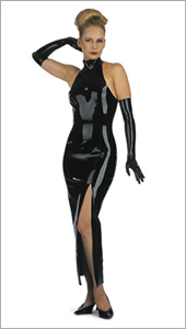 Backless ankle length latex dress with collar