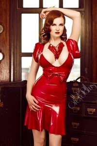 Marion latex vintage bow dress