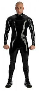 Latex catsuit, shoulder zips, collared, 0,35 mm Latex