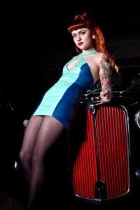 Latex Rubber Two-Tone Mini Dress