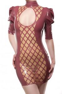 Crosshatched Latex Dress with Large Keyhole Opening