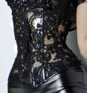 Clear Vinyl and Lace Underbust Corset (version 1)
