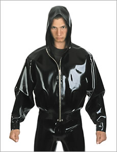 Latex bomberjacket with hood