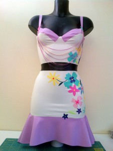 Latex Rubber Floral Applique Top and Skirt
