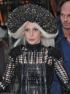 Gaga with Sasha Louise High Neck Latex Net Gown 1