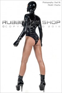 Hooded Rubber Bondage Leotard With Mitts 1