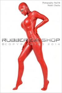 Ladies Hooded Rubber Total Enclosure Catsuit