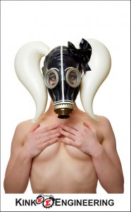 Latex girly gasmask with pigtails